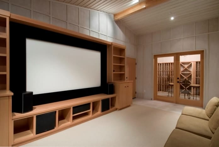 Combined Home Theater And Living Area