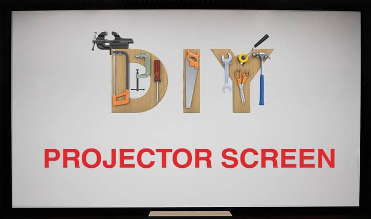 DIY Projector Screen - fabric, frame, paint, stand