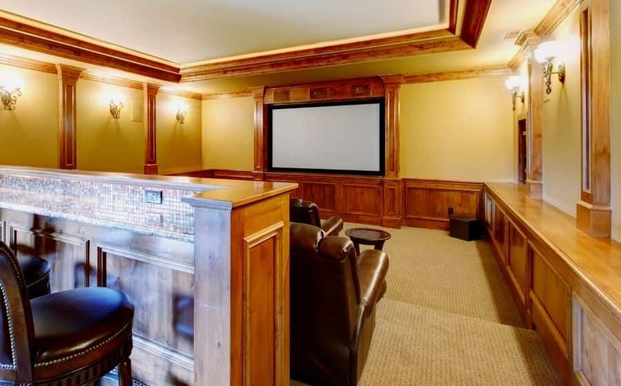 two Row with Bar Behind home theater room layout