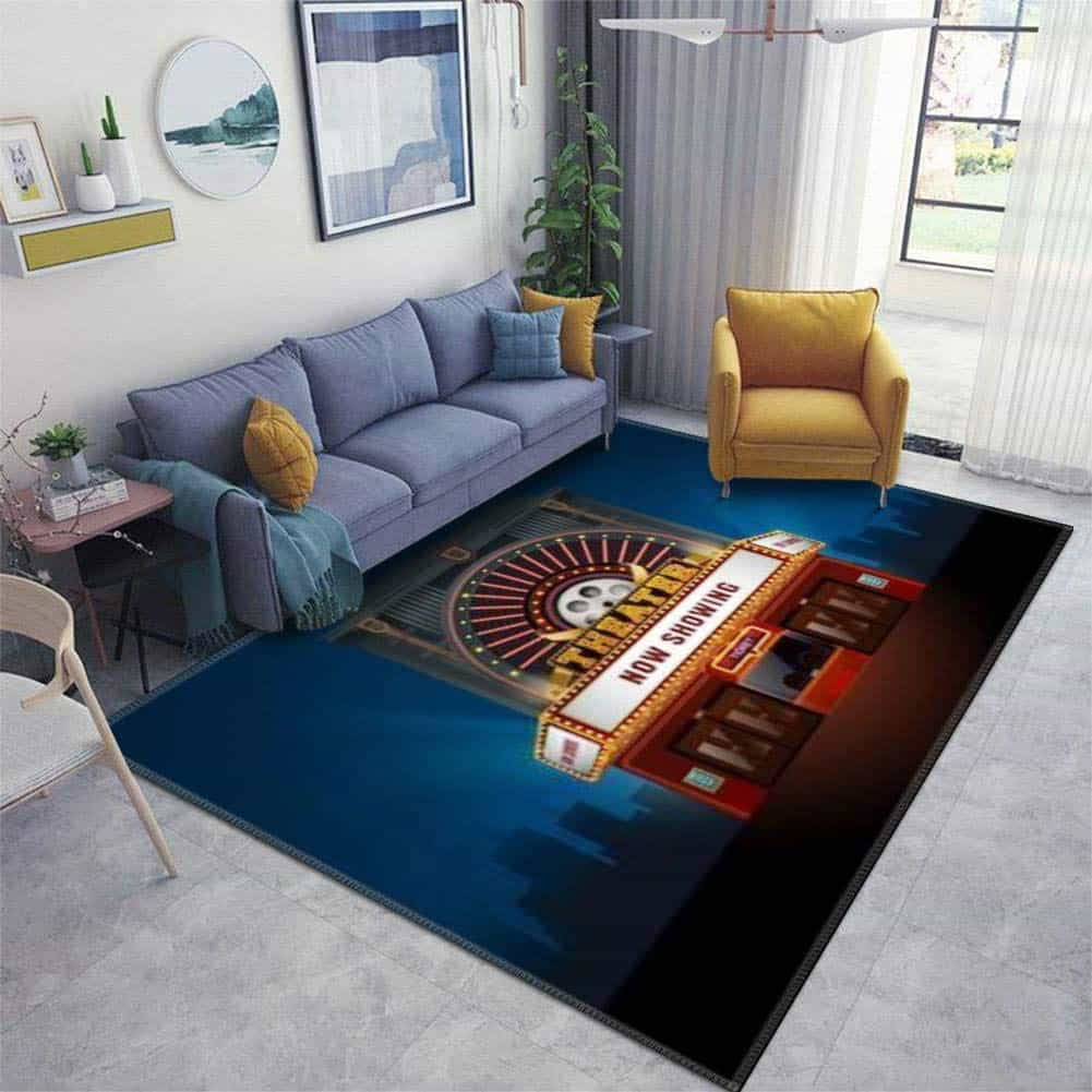 Cinema Building Vector area rug is shown in this file photo courtesy of Amazon.