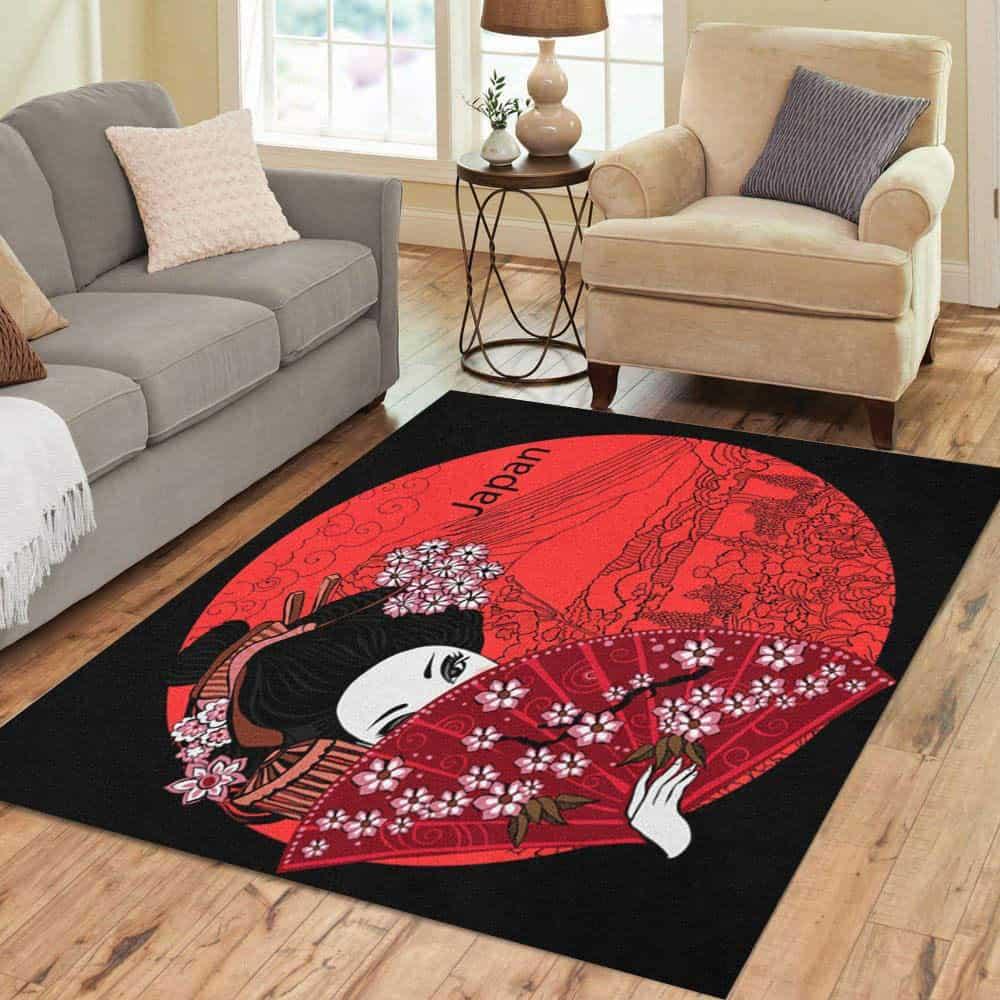 Japanese Woman Design rectangular area rug is shown, photo courtesy of Amazon.