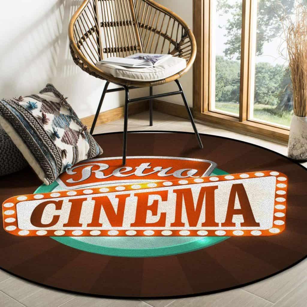 Retro Cinema round area rug, image courtesy of Amazon.