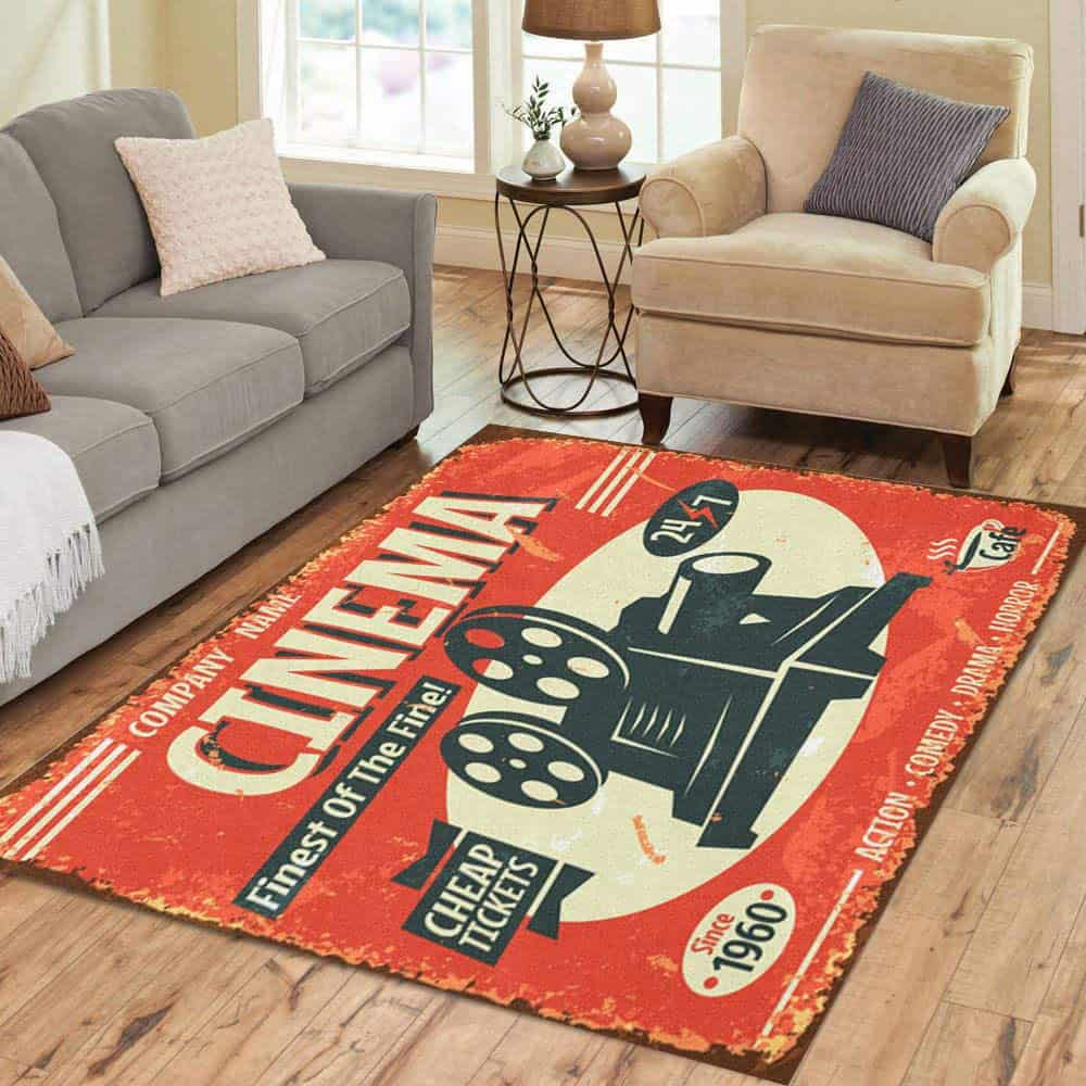 Vintage Projector rectangular area rug is shown, photo courtesy of Amazon.