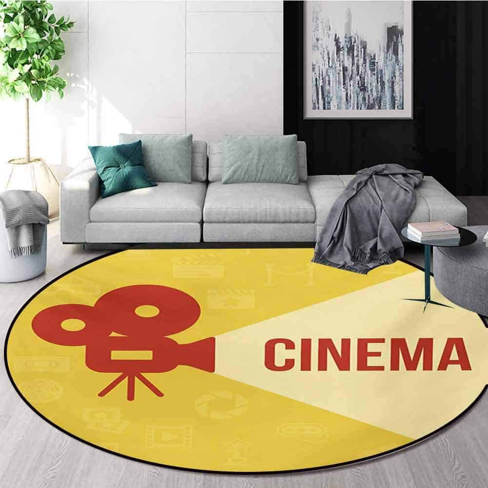 Projector Silhouette round area rug is shown. Photo courtesy of Amazon.